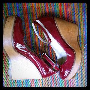 Cherry Red Patent (vegan) Leather Platform Heels